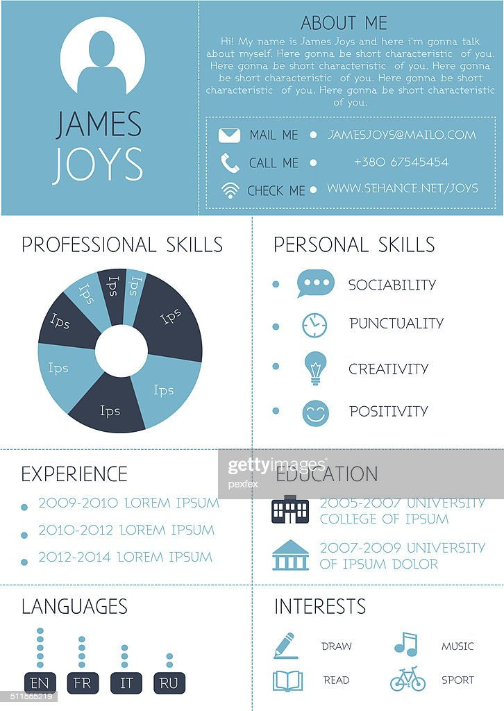 Resume template with infographics and icons.