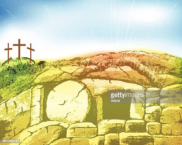 auferstehung christi ostern - jesus resurrection stock-grafiken, -clipart, -cartoons und -symbole