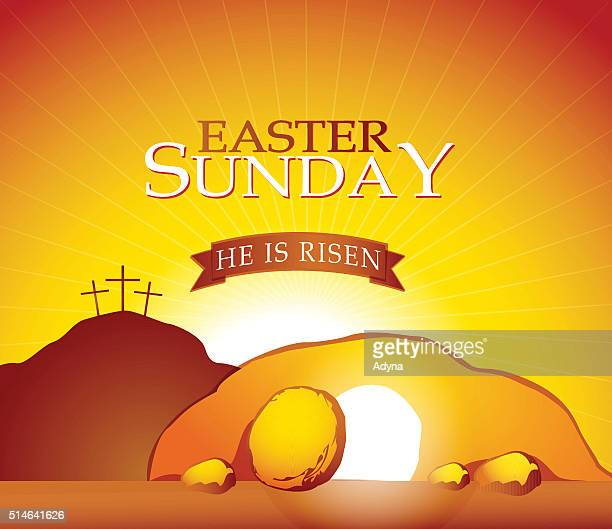 resurrection - jesus tomb stock illustrations
