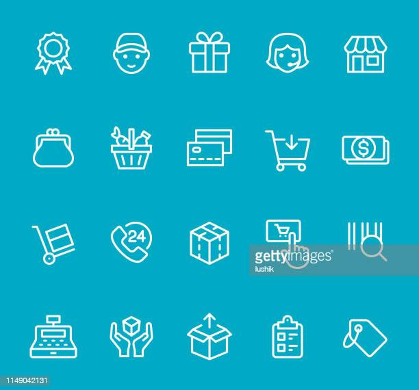 retail and shopping - line icon set - cash flow stock illustrations, clip art, cartoons, & icons