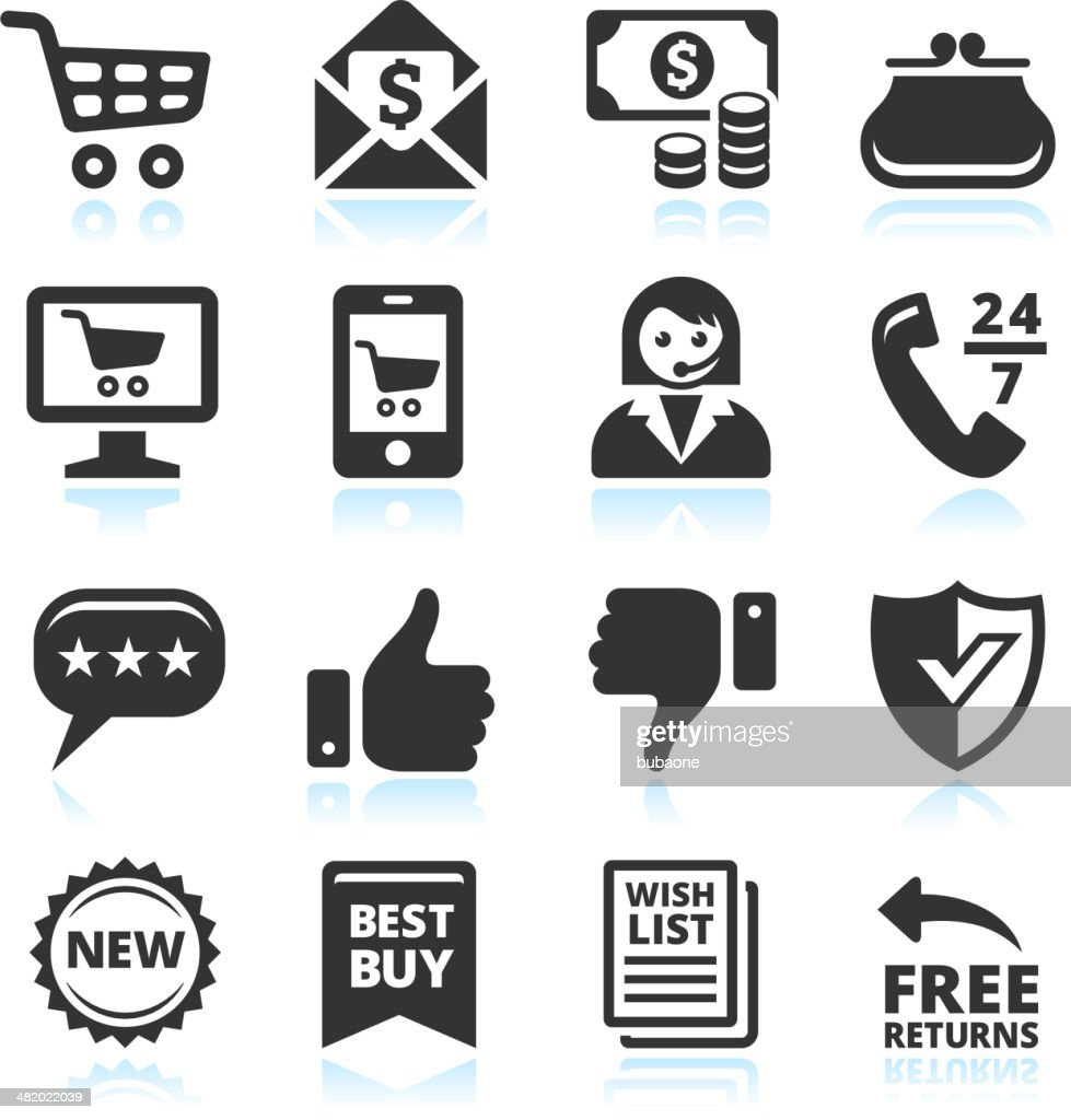 Retail black and white vector illustration icons