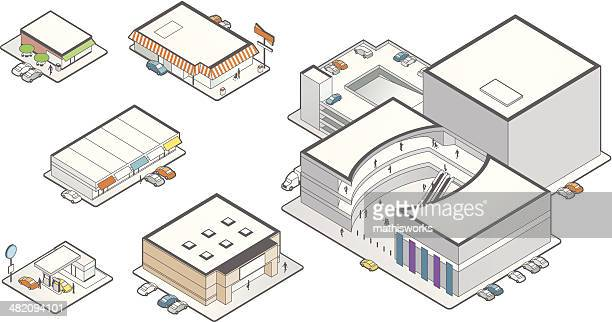retail building icons illustration - mathisworks business stock illustrations
