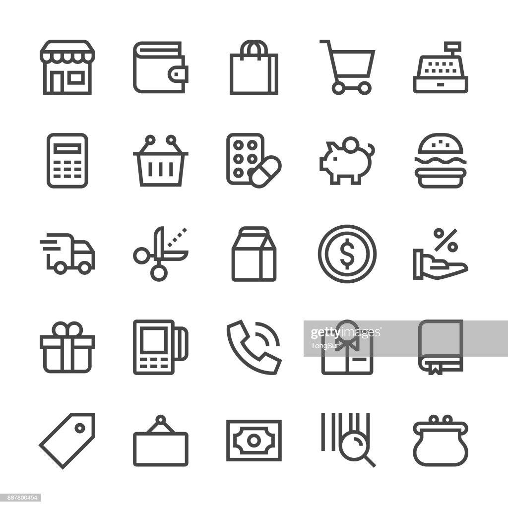 Retail Icons - MediumX Line : stock illustration