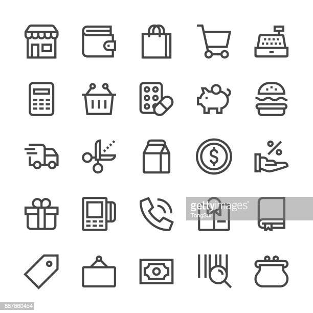 retail icons - mediumx line - shopping cart stock illustrations