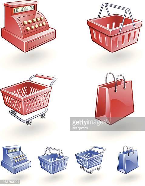 einzelhandel symbole von cash register, shopping cart, korb und tasche - handwagen stock-grafiken, -clipart, -cartoons und -symbole
