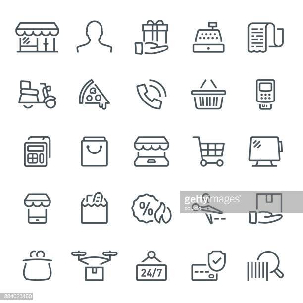 retail icons - restaurant stock illustrations