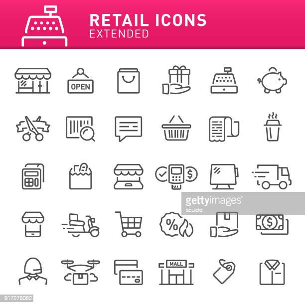 retail icons - shopping cart stock illustrations