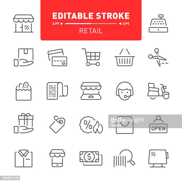 retail icons - receipt stock illustrations