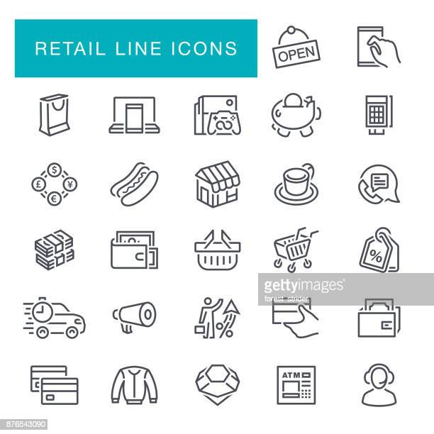 retail line icons - store sign stock illustrations