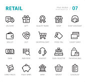 Retail - Pixel Perfect line icons with captions