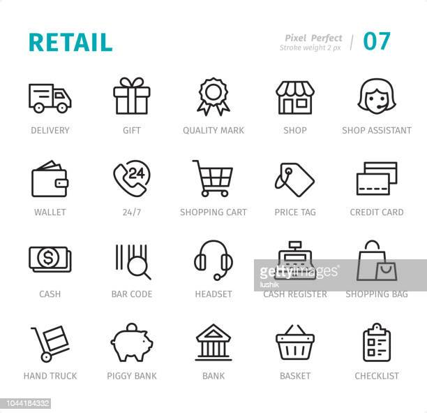 illustrazioni stock, clip art, cartoni animati e icone di tendenza di retail - pixel perfect line icons with captions - mercanzia