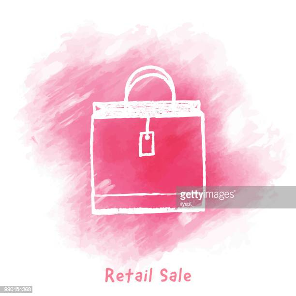 retail sale doodle watercolor background - drawing artistic product stock illustrations