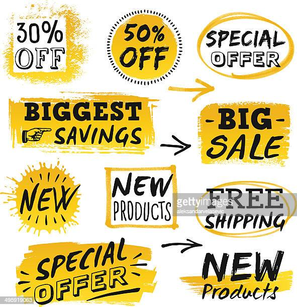 retail sale signs and banners - price tag stock illustrations, clip art, cartoons, & icons
