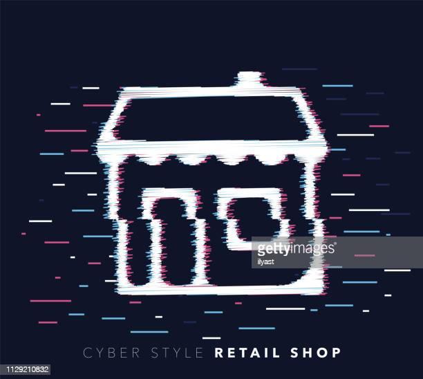 ilustrações de stock, clip art, desenhos animados e ícones de retail shop glitch effect vector icon illustration - fachada supermercado