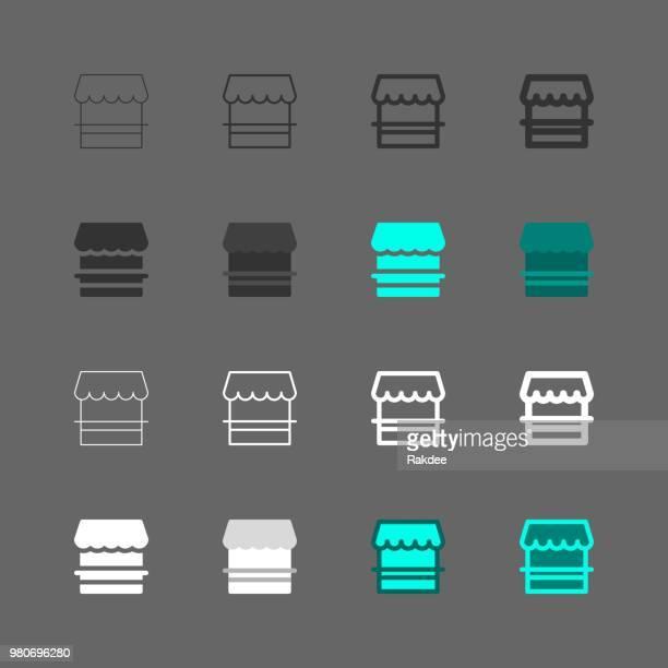 ilustraciones, imágenes clip art, dibujos animados e iconos de stock de venta por menor tienda iconos - serie multi - boutique