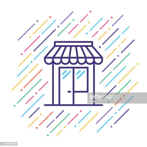 retail shop line icon - boutique stock illustrations, clip art, cartoons, & icons