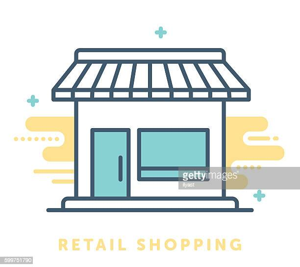 retail shop symbol - awning stock illustrations, clip art, cartoons, & icons
