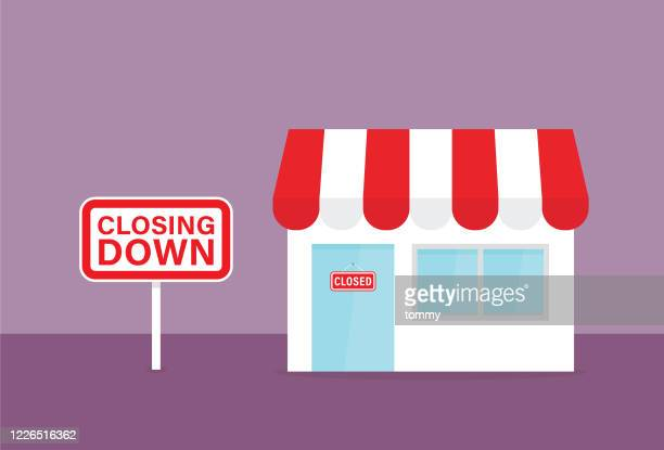 retail shop with closing down sign - retail employee stock illustrations