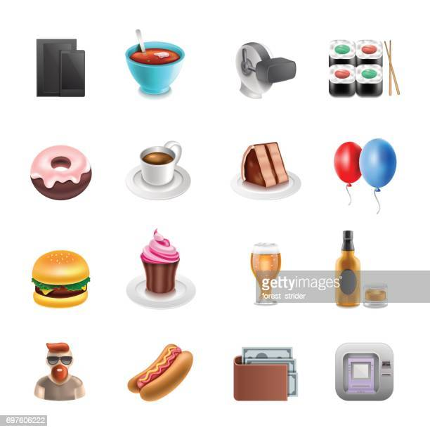 ilustrações, clipart, desenhos animados e ícones de ícones de shoping de varejo - bolo