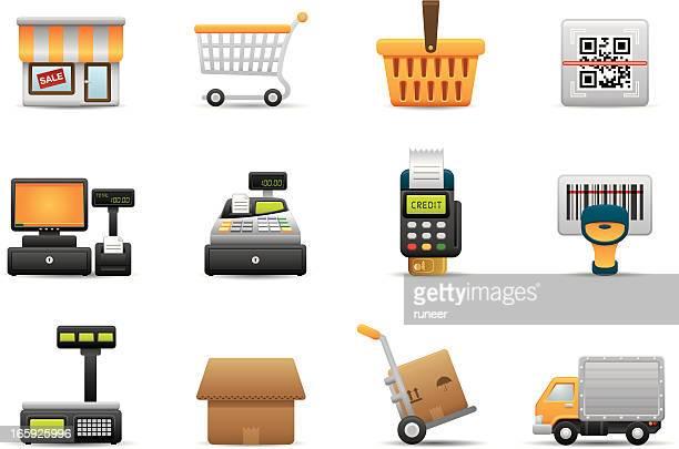 retail & shopping icons | premium matte series - bar code reader stock illustrations, clip art, cartoons, & icons