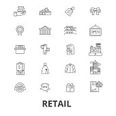 Retail, shopping, mall, consumerism, sales, shop, choice line icons. Editable strokes. Flat design vector illustration symbol concept. Linear isolated signs