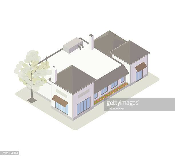 Retail shops isometric illustration