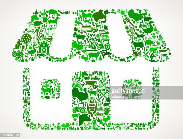 Retail Store Farming and Agriculture Green Icon Pattern