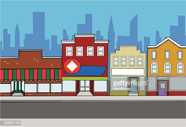 Retail Store Fronts in City Background