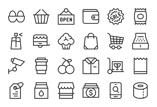 Retail Store Icons - Light Line Series - gettyimageskorea