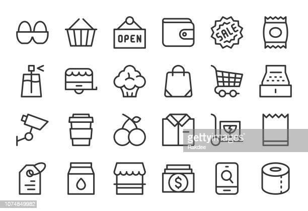 ilustraciones, imágenes clip art, dibujos animados e iconos de stock de iconos de la tienda por menor - linea serie - huevo comida básica