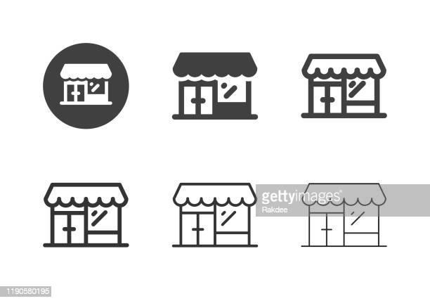 ilustraciones, imágenes clip art, dibujos animados e iconos de stock de iconos de tiendas minoristas - serie múltiple - boutique