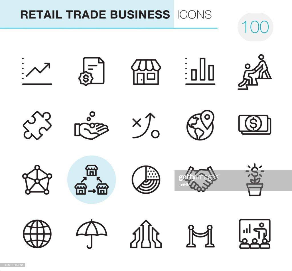 Negócio do comércio de varejo-ícones perfeitos do pixel : Ilustração