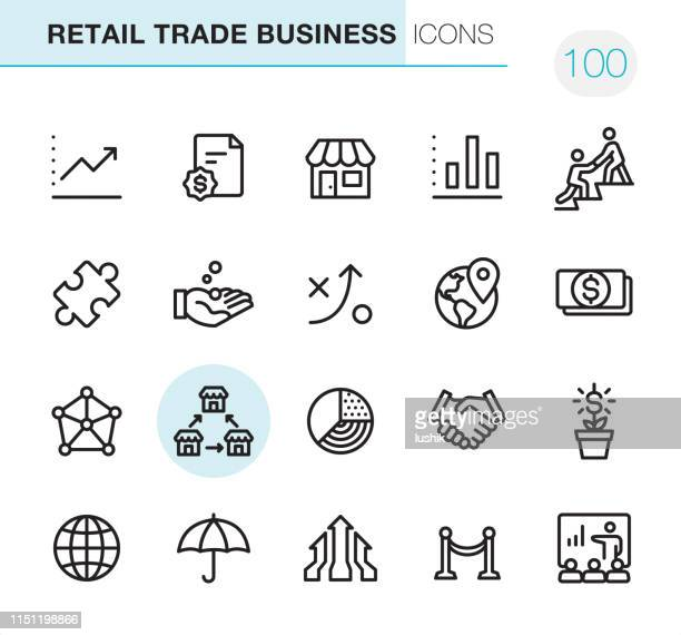 illustrazioni stock, clip art, cartoni animati e icone di tendenza di retail trade business - pixel perfect icons - business