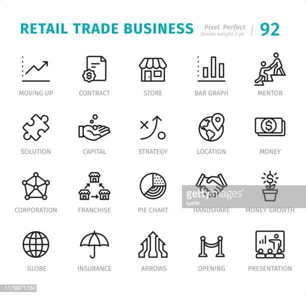 ilustrações de stock, clip art, desenhos animados e ícones de retail trade business - pixel perfect line icons with captions - fundador