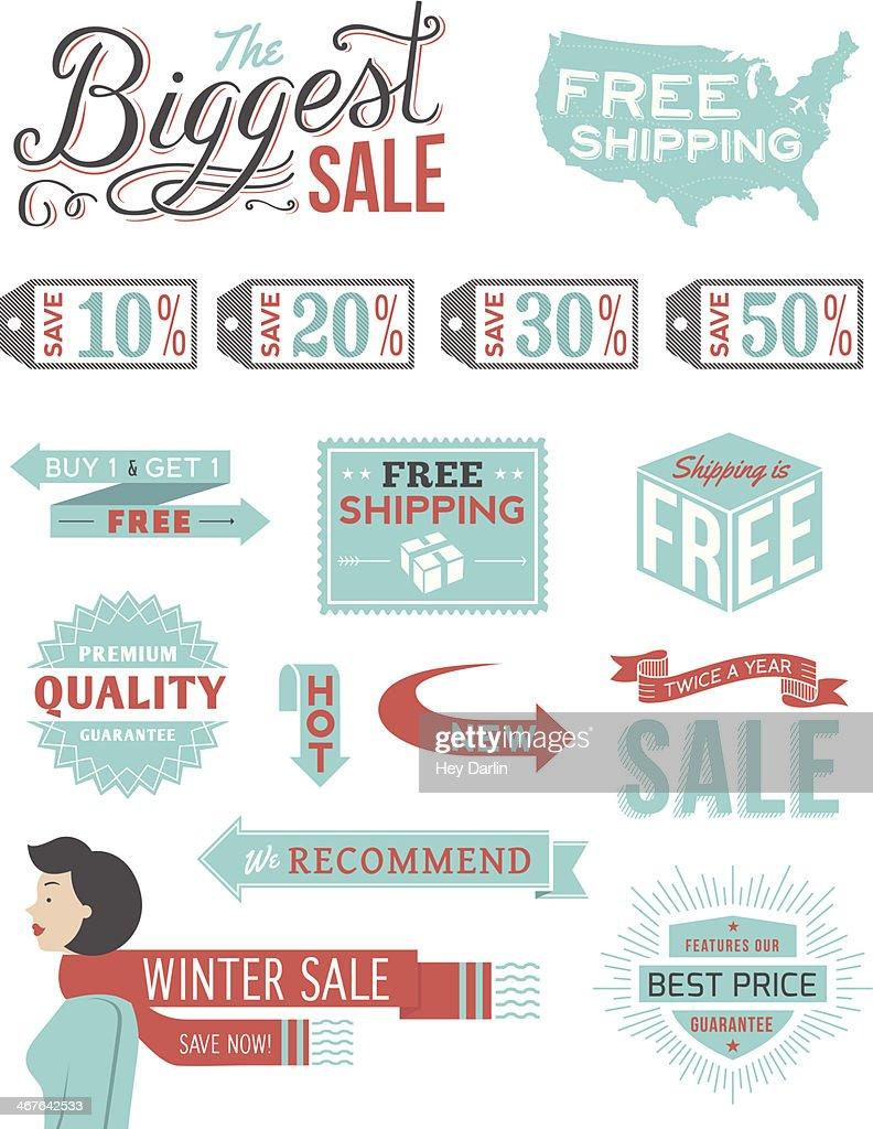 Retail Typography Badges : stock illustration
