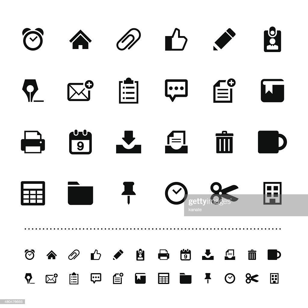 Retina office tools icon set