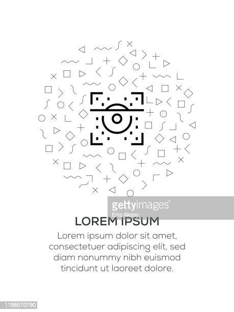 retina scan icon arranged with geometrical shapes - eye scanner stock illustrations