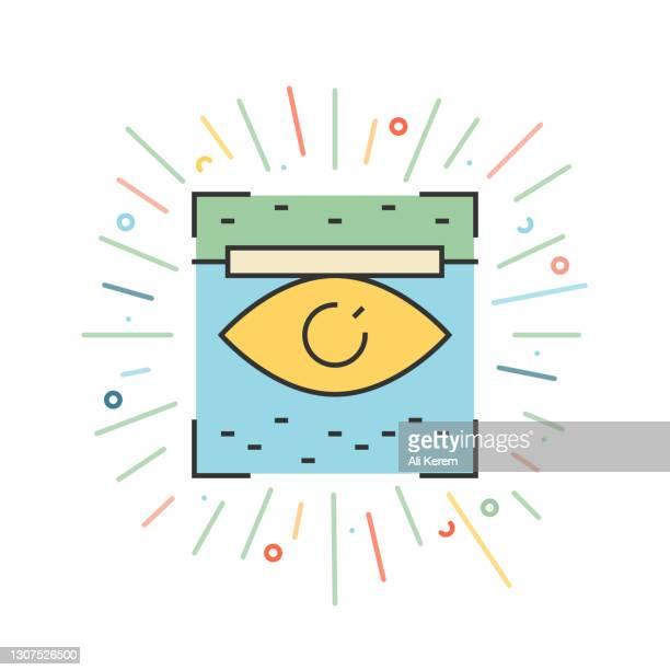 retina scan line icon - eye scanner stock illustrations