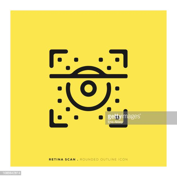 retina scan rounded line icon - eye scanner stock illustrations