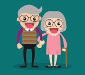 Retired elderly senior age couple in creative flat vector character design