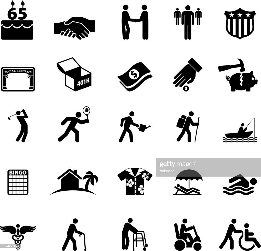 Retirement options in America black and white vector icon set : stock illustration