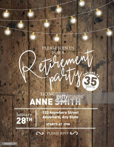 retirement party invitation design template on wooden background with string lights - rustic stock illustrations