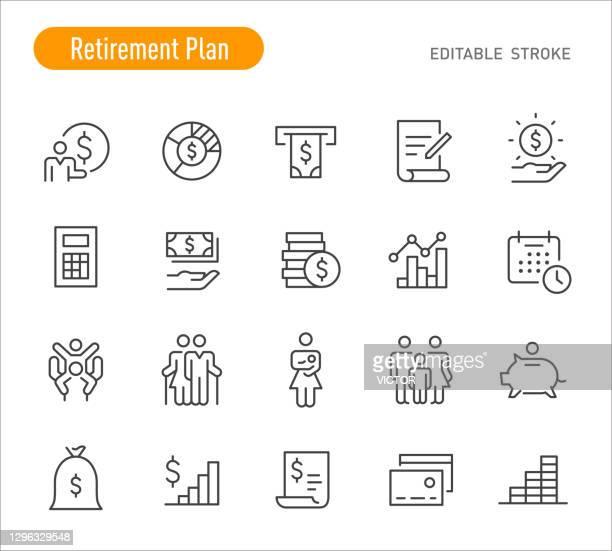ruhestandsplan icons - linienserie - bearbeitbarer strich - budget stock-grafiken, -clipart, -cartoons und -symbole