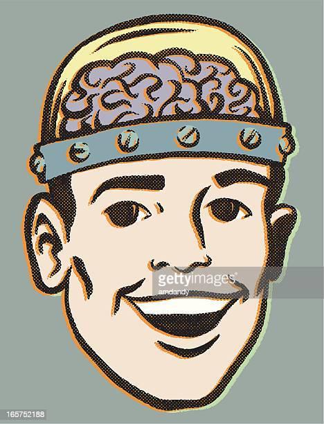 reto brainiac - scientist stock illustrations