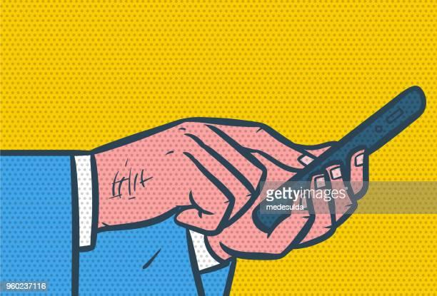 reto smartphone halftone - pop art stock illustrations