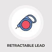 Retractable lead vector flat icon