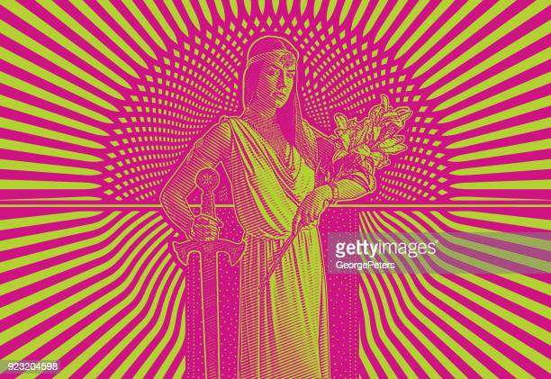 retro 1960's style illustration of a young woman heroine with bold graphic halftone pattern background - me too social movement stock illustrations, clip art, cartoons, & icons