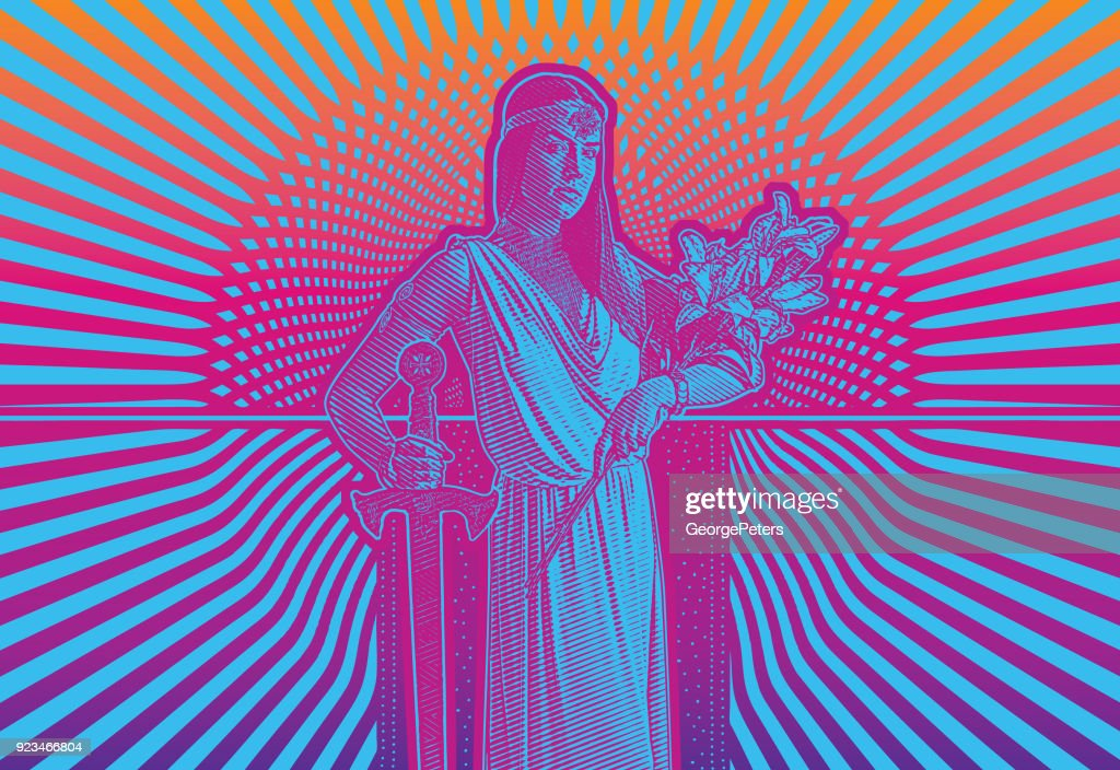 Retro 1960's style illustration of a young woman heroine with bold graphic halftone pattern background : stock illustration