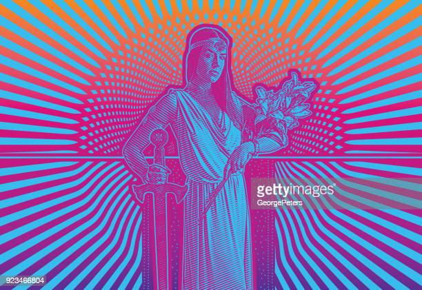 Retro 1960's style illustration of a young woman heroine with bold graphic halftone pattern background