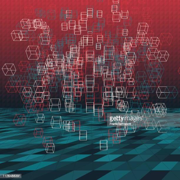 Retro-abstrakte 3D-Vektor Cube